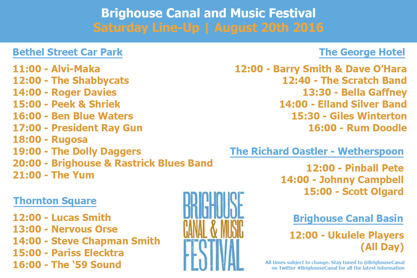Saturday LineUp Brighouse Canal and Music Festival 2016