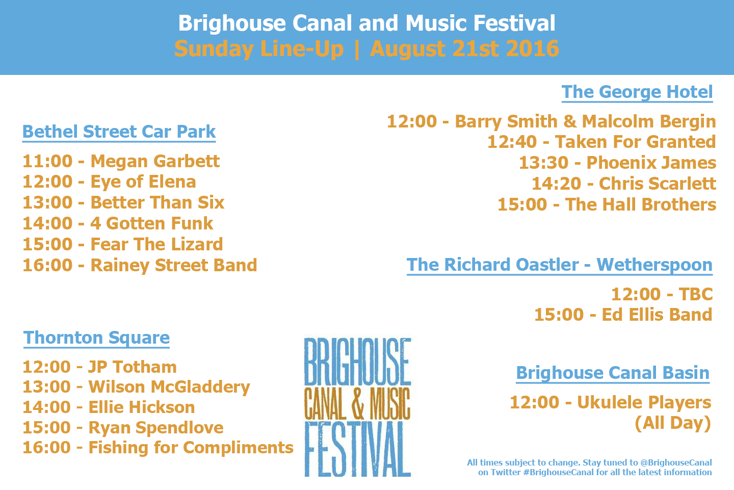 Sunday LineUp Brighouse Canal and Music Festival 2016